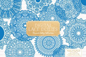 Blue Round Lace Vector Doilies
