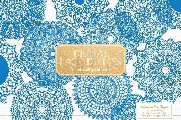 Blue Round Lace Vector Doilies