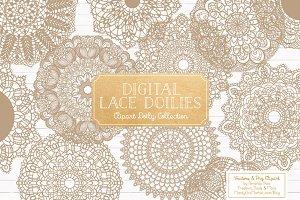 Champagne Lace Doilies Clip Art