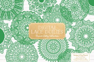 Green Round Lace Doilies