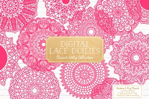 Hot Pink Lace Doilies, Doily Clipart