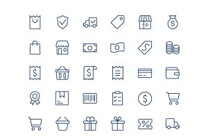 Shopping line mini icons.