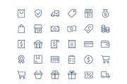 Shopping line mini icons.