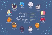 Cat Horoscope Icons And Labels