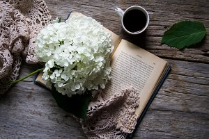 Rustic Book, Flower, Coffee