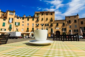 Cup of coffee italian terrace
