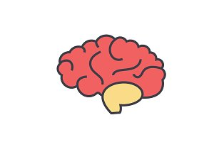 Brain head, brainstorm, mind, idea generation concept. Line vector icon. Editable stroke. Flat linear illustration isolated on white background