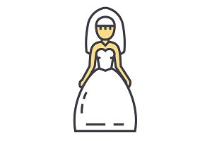 Bride, wedding dress, marriage concept. Line vector icon. Editable stroke. Flat linear illustration isolated on white background