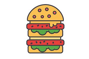 Burger, hamburger, fast food, bistro, sandwich concept. Line vector icon. Editable stroke. Flat linear illustration isolated on white background
