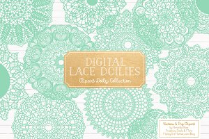 Mint Lace Doily Vectors & Clipart