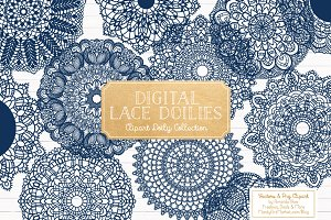 Navy Lace Doilies Clipart & Vectors