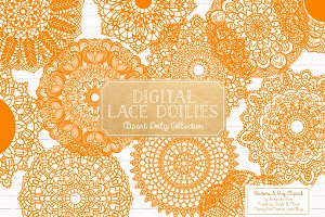 Orange Lace Doily Vectors