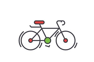 Bicycle, bike, race concept. Line vector icon. Editable stroke. Flat linear illustration isolated on white background