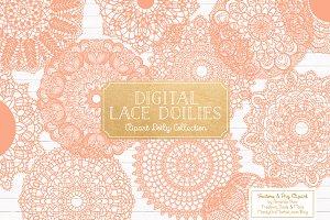 Peach Lace Doilies, Lace Vectors