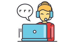 Call center worker, woman in headset using laptop, client agent support concept. Line vector icon. Editable stroke. Flat linear illustration isolated on white background
