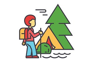 Camping, traveller, tourist, hiking, mountains, forest trip concept. Line vector icon. Editable stroke. Flat linear illustration isolated on white background