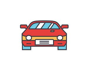 Race car, racing concept. Line vector icon. Editable stroke. Flat linear illustration isolated on white background