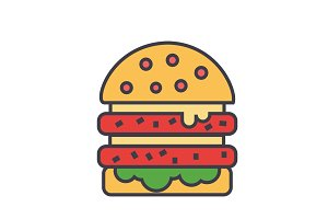Cheeseburger, burger, hamburger concept. Line vector icon. Editable stroke. Flat linear illustration isolated on white background