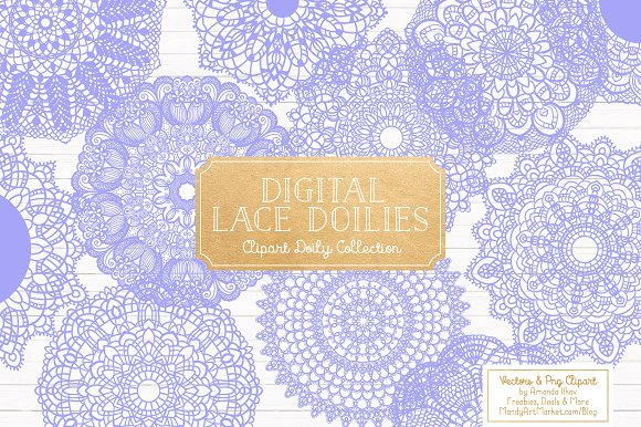 Periwinkle Round Lace Doilies