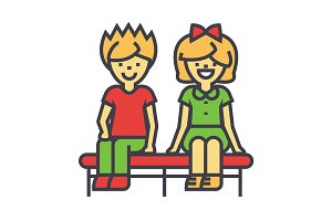 Happy children sitting on bench, boy and girl, young love couple concept. Line vector icon. Editable stroke. Flat linear illustration isolated on white background