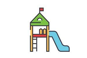 Kids playground equipment, children house, kindergarten concept. Line vector icon. Editable stroke. Flat linear illustration isolated on white background