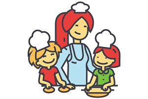 Happy woman cooking with kids, mother with daughter and son on kitchen, bakery family concept. Line vector icon. Editable stroke. Flat linear illustration isolated on white background