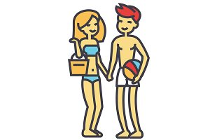 Happy beach couple in beachwear, young woman and man on vacation concept. Line vector icon. Editable stroke. Flat linear illustration isolated on white background