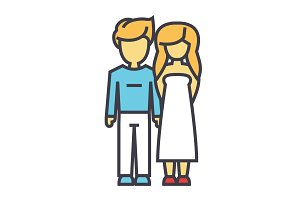 Young and happy couple in love concept. Line vector icon. Editable stroke. Flat linear illustration isolated on white background