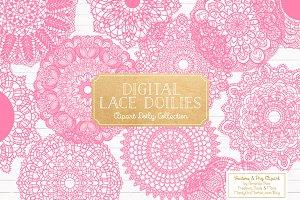Pink Lace Vectors, Doily Clipart