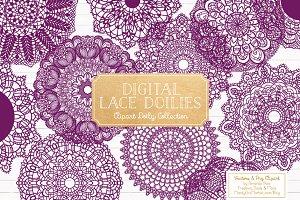 Plum Lace Clipart Doilies