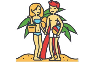 Couple on beach, summer vacation, happy young woman and man relaxing concept. Line vector icon. Editable stroke. Flat linear illustration isolated on white background