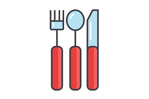 Cutlery concept. Line vector icon. Editable stroke. Flat linear illustration isolated on white background