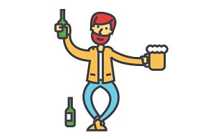 Drunk man, alcoholic, alcoholism concept. Line vector icon. Editable stroke. Flat linear illustration isolated on white background