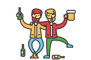 Male alcoholism, drunk people, drunken party, men drinking alchocol concept. Line vector icon. Editable stroke. Flat linear illustration isolated on white background