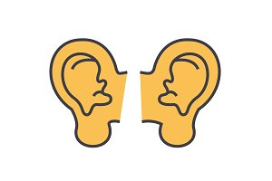 Ears concept. Line vector icon. Editable stroke. Flat linear illustration isolated on white background