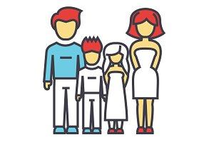 Happy family, parents with kids, father, mother, son, daughter concept. Line vector icon. Editable stroke. Flat linear illustration isolated on white background
