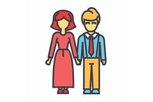 Family, woman and man avatars concept. Line vector icon. Editable stroke. Flat linear illustration isolated on white background