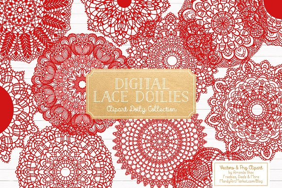 Red Round Lace Doilies