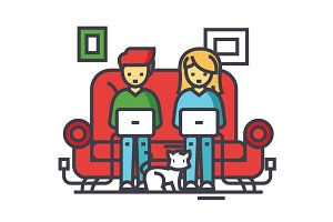 Family working at home, freelancers chating with laptops on sofa, freelance concept. Line vector icon. Editable stroke. Flat linear illustration isolated on white background