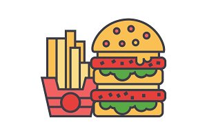 Fast food, burger and french fries concept. Line vector icon. Editable stroke. Flat linear illustration isolated on white background