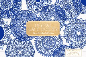 Royal Blue Lace Doilies Clipart