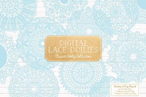 Soft Blue Round Lace Doily Clipart