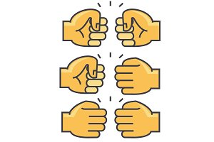 Fist bump, union, friendship concept. Line vector icon. Editable stroke. Flat linear illustration isolated on white background