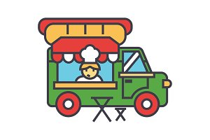 Fast food truck, street food, mobile kitchen concept. Line vector icon. Editable stroke. Flat linear illustration isolated on white background