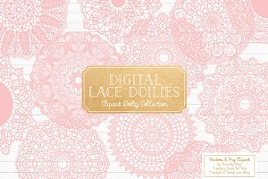 Soft Pink Round Lace Doily Vectors