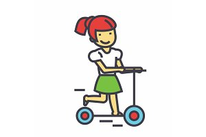 Girl on a scooter, kid in kindergharten concept. Line vector icon. Editable stroke. Flat linear illustration isolated on white background