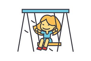 Little girl on swing in kindergarten concept. Line vector icon. Editable stroke. Flat linear illustration isolated on white background