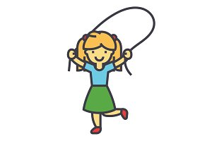Girl with jumping rope concept. Line vector icon. Editable stroke. Flat linear illustration isolated on white background