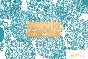 Vintage Blue Lace Doilies Clipart