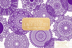 Violet Round Lace Doilies & Vectors